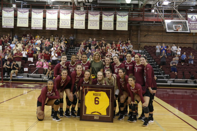 FSU Volleyball: Gabrielle Reece Jersey Retirement Ceremony in Tully Gym before the UNC - FSU volleyball match.